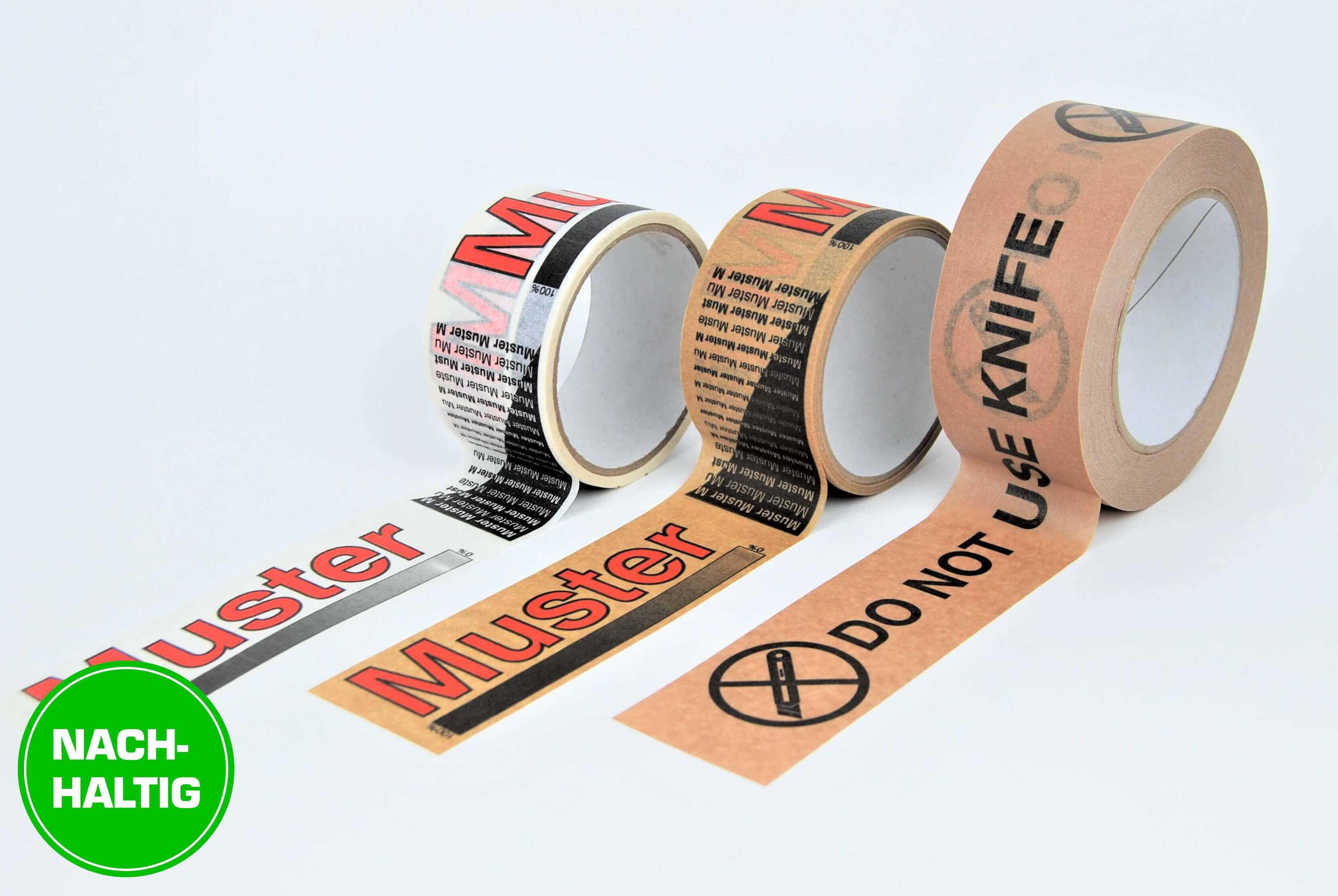 Verpackungsklebebänder aus weißem oder braunem Papier mit individuellem Werbedruck
