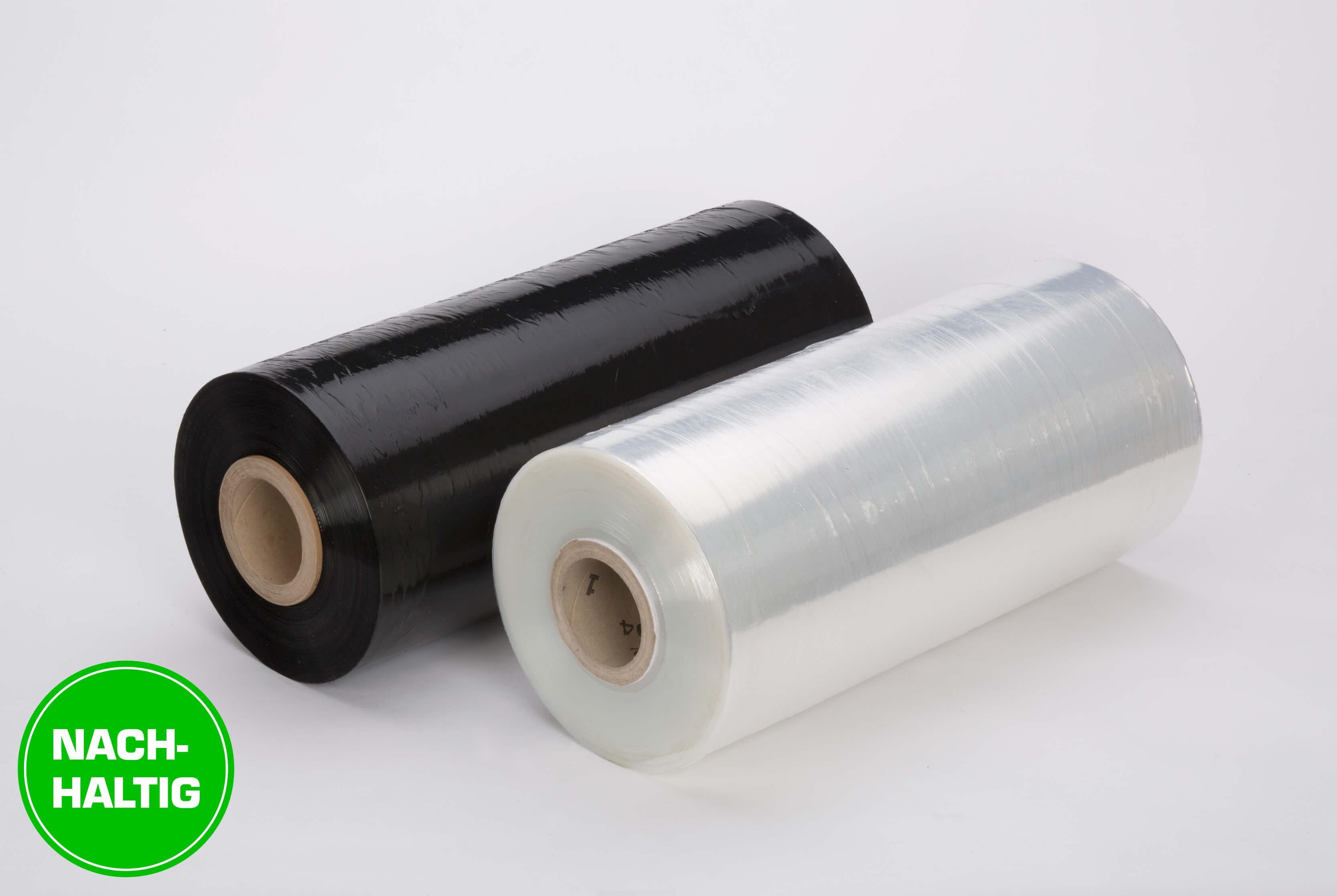 Nachhaltige Maschinenstretchfolie in transparenter oder schwarzer Farbe