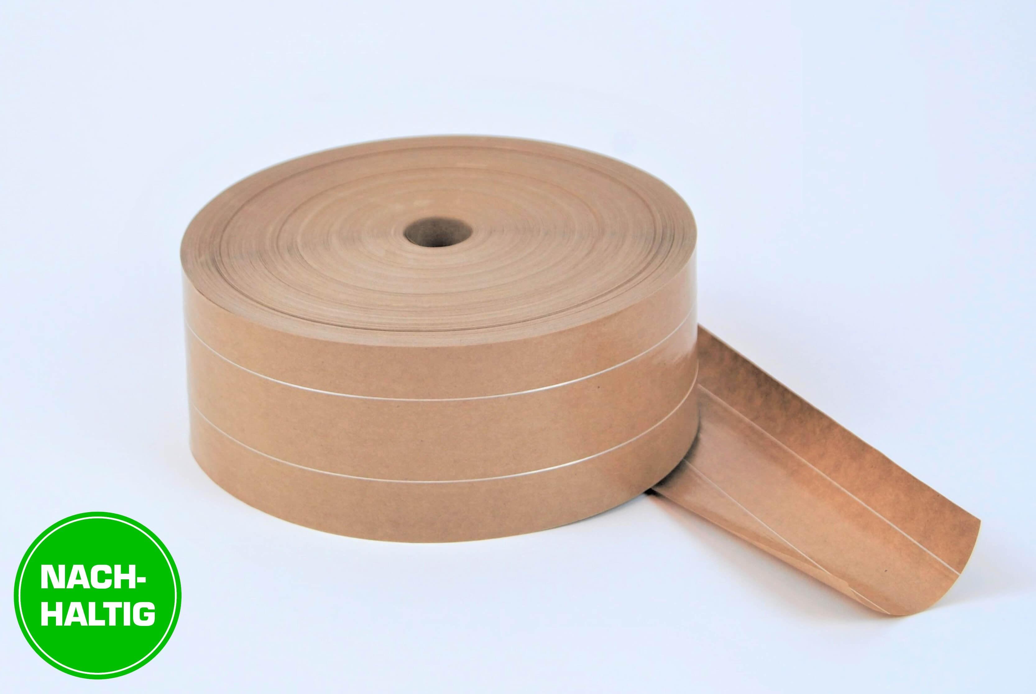 Nachhaltige Nassklebestreifen aus Papier mit 2-facher Fadenverstärkung