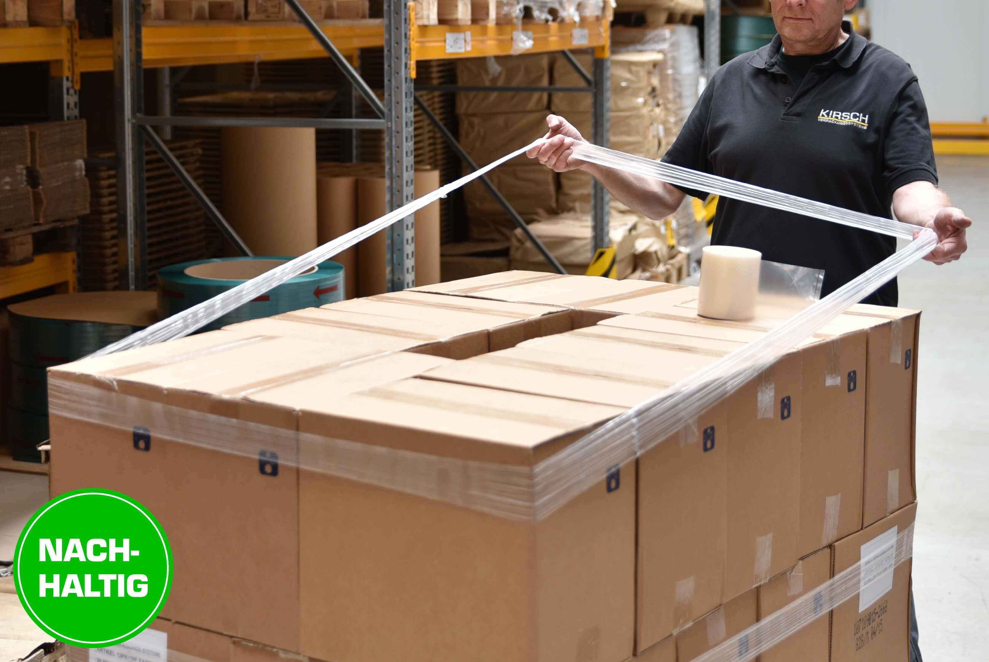 Dehnband aus Folie zur Ladungssicherung von Paletten
