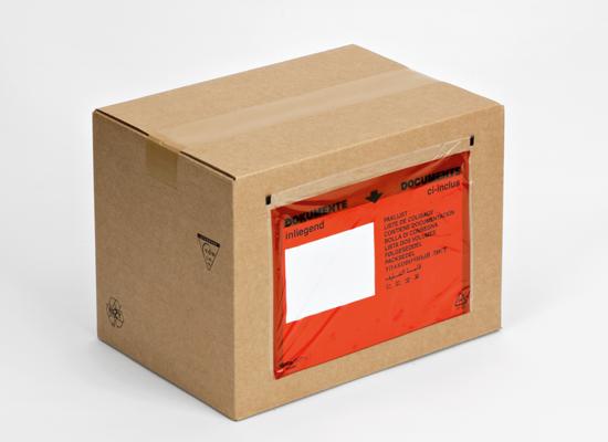 Dokumententaschen aus Folie in roter Farbe mit oder ohne Aufdruck